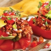 Recette: saine champignons et mexicains riz rouge Poivrons farcis